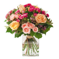bouquet of roses in pink and cream colours