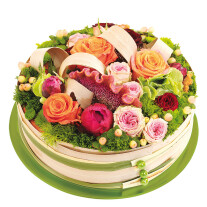 round colorful arrangement of cut flowers